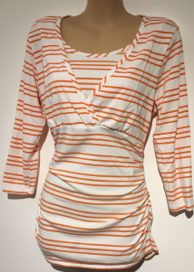 BLOOMING MARVELLOUS WHITE/ORANGE 3/4 SLEEVE TUNIC TOP SIZE M 12